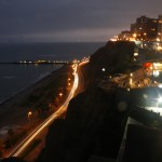 The waterfront in Miraflores district in Lima by night
