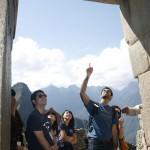 Hiroki and Shuaib inspecting the main gate to Machu Picciu
