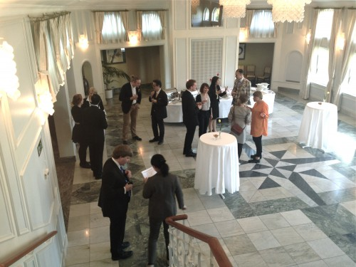Mingling at reception at Japanses ambassador's residence