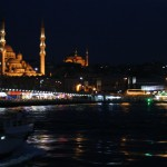 Busy traffic on the Bosphorus even after night falls.
