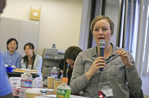Lillian Solheim (Norway) takes active part in the discussion during the meeting session on day 2. Photo: Carolina Hawranek