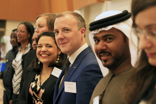 In line waiting for the official presentation on stage at NYC. Adreina Duarte(Venezuela) smiling next to UK's representative from North Ireland Conor Houston. Just out of focus is Yasem Albloshi (U.A.E). Photo Carolina Hawarnek