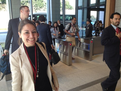 The delegates passing the security at Government building no. 8 for the formal report session on day 3 of Tokyo conference 2016. Almudena Ramos (Spain) to the left, followed by Louis Beauregard (Canada) and Augustine Bartning (USA) to the right.