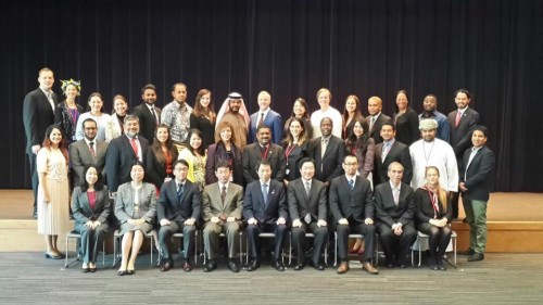The official photo of all the 32 delegates at the government visit in Tokyo. Photo credit: SWYAA International